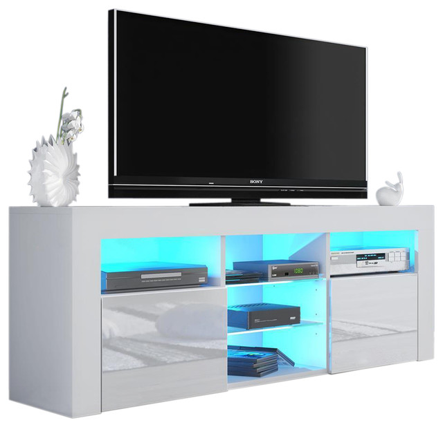 """Milano 145 Modern 65"""" TV Stand Matte Body High Gloss Fronts, LED, White"""