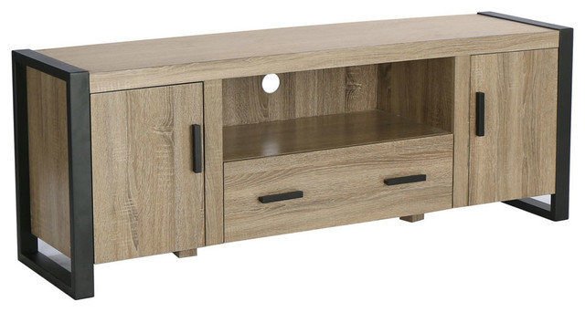 We Furniture 60 Wood Media Tv Stand Storage Console Driftwood