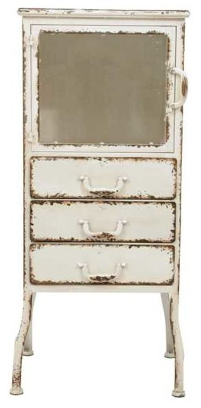 Distressed White Metal Cabinet With 3 Drawers Farmhouse Bathroom Cabinets  And Shelves