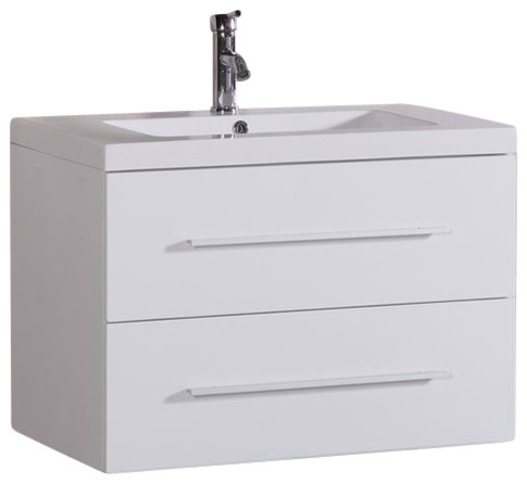 """32"""" Carnegie Floating Bathroom Vanity, White."""