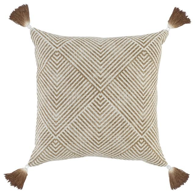 "Sonora 100% Cotton 20"" Throw Pillow By Kosas Home, Brown."