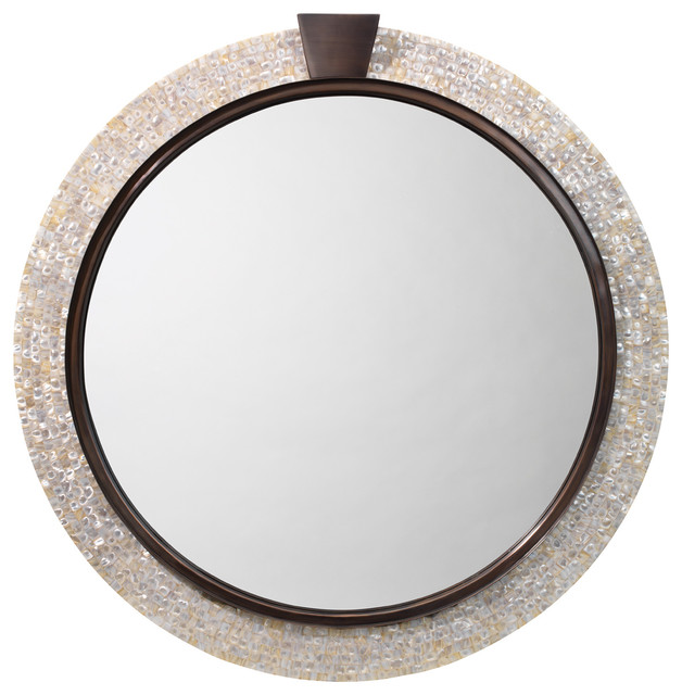 Thea Mirror, Mother Of Pearl And Bronze.