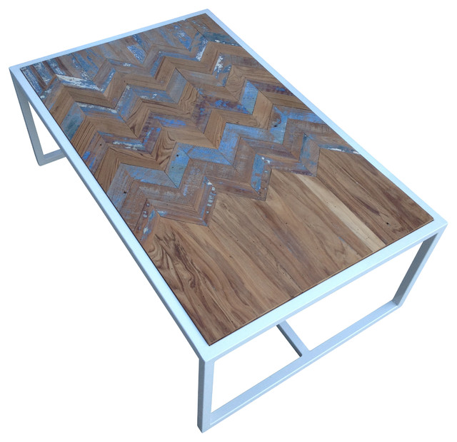 Superbe Metal Coffee Table With Teak Chevron Inlay