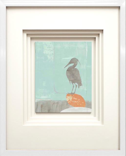 """heron Collage I"" Artwork By Jennifer Goldberger, White Glossy Molding, 17""x21""."