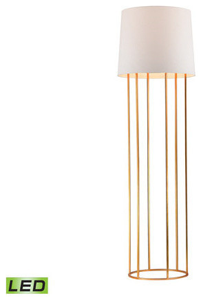 Floor Lamp 1-Light With Metal Material 9.5w Led Base, Gold Leaf, 63.
