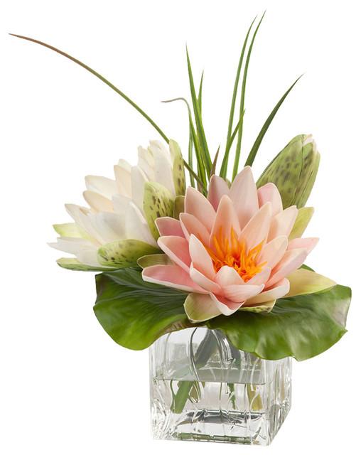 Lotus blossom and lily pad silk flower arrangement traditional lotus blossom and lily pad silk flower arrangement mightylinksfo