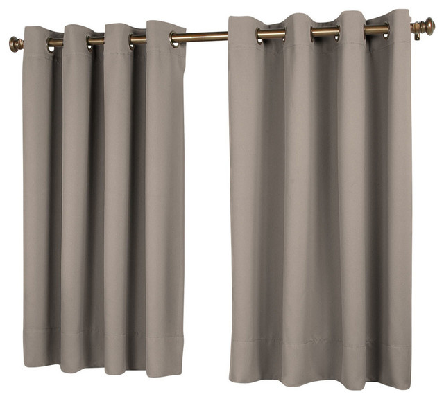 "Riley Black-Out Short Length Window Panel, Gray, 56""x45""."