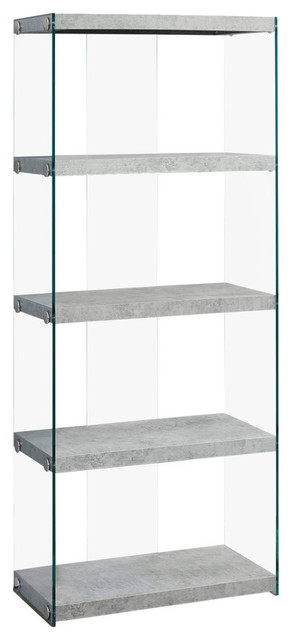 Dommen Bookcase With Tempered Glass, Faux Cement.