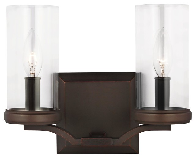 Shop Houzz Feiss Monte Carlo 2 Light Standard Bulb Bath Vanity Light Dark Antique Copper