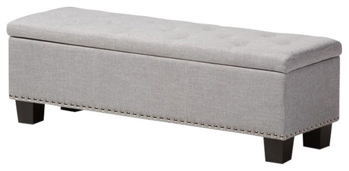 Hannah, Grayish Beige Fabric Upholstered Button-Tufting Storage Ottoman Bench