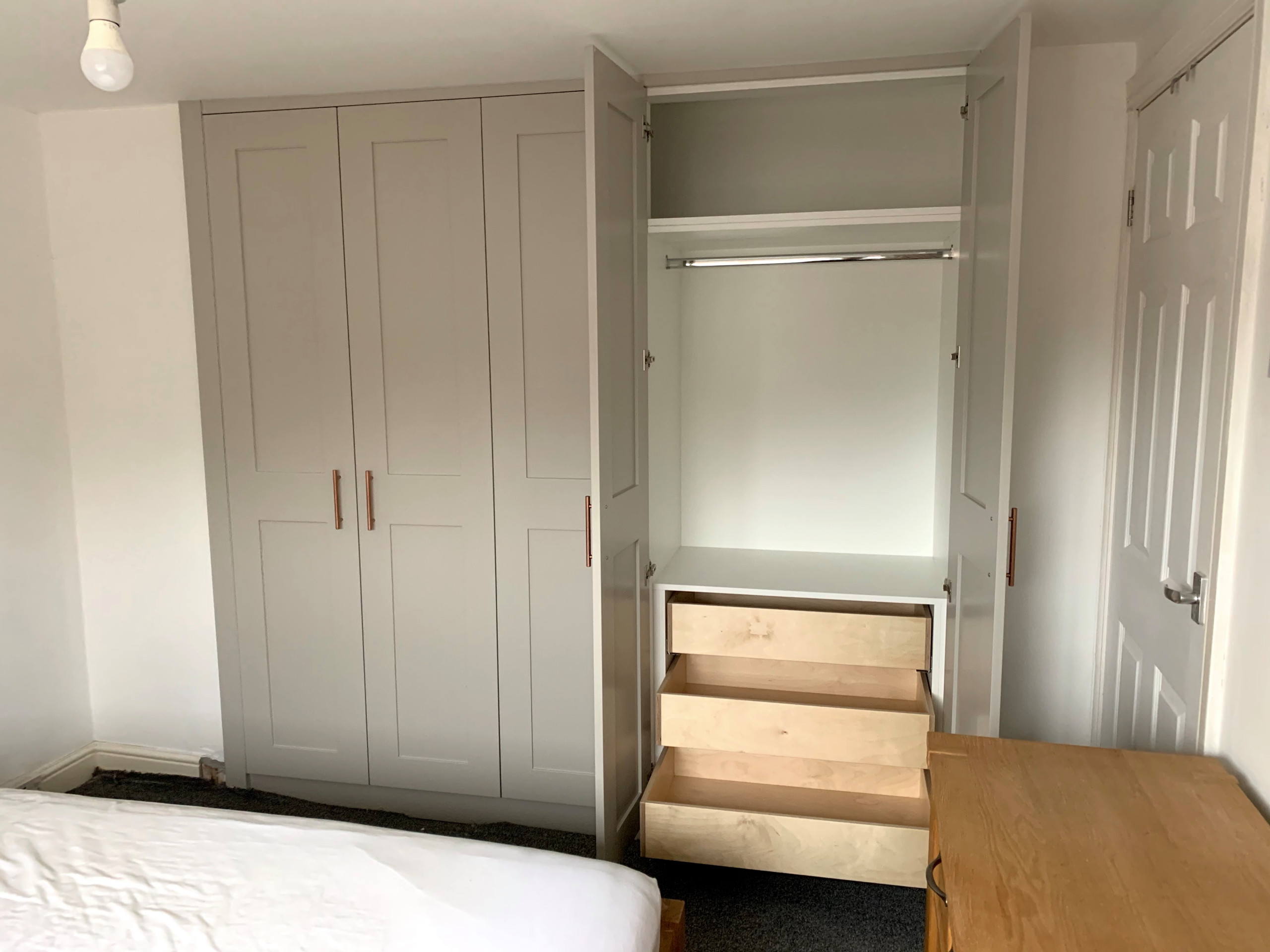 Wardrobes With Shaker Doors Painted in Farrow & Ball 'Purbeck Stone'