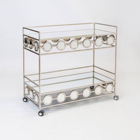 Worlds Away Carr Silver Leafed Bar Cart