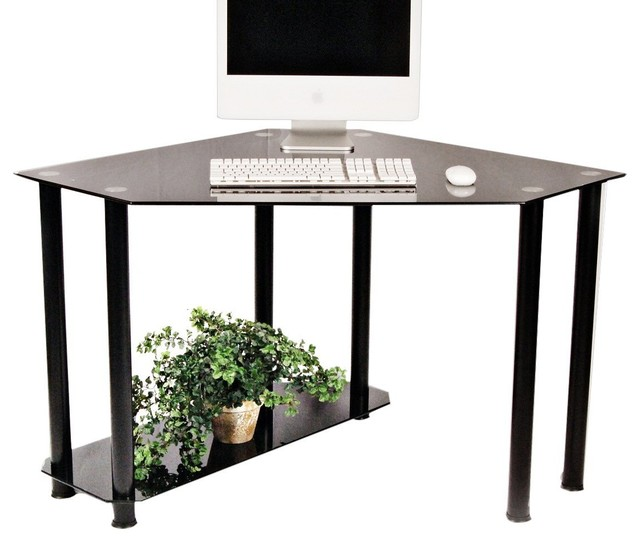 Superieur Rta Home And Office Black Tempered Glass And Aluminum Corner Computer Desk    Contemporary   Desks And Hutches   By Clickhere2shop