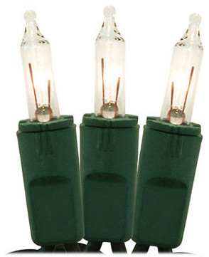 Set Of 50 Clear Perm-O-Snap Mini Christmas Lights, Green Wire.