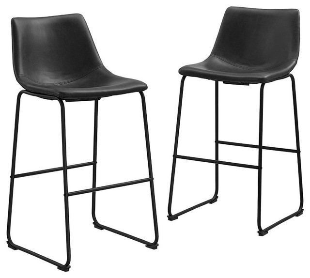 Faux Leather Bar Stools, Set of 2, Black