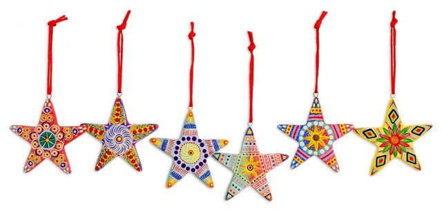 Christmas Star, Ceramic Ornaments, Guatemala, 6-Piece set - Christmas Star, Ceramic Ornaments, Guatemala, 6-Piece Set
