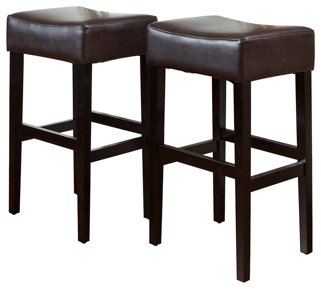 Duff Backless Brown Leather Bar Stool Set Of 2
