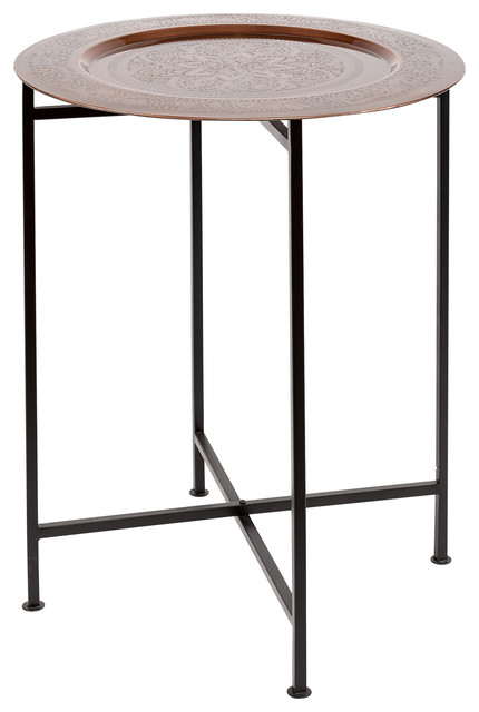Iron And Copper Tray End Tables Set Of 2 Contemporary