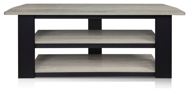 "Furinno Parsons 42"" Tv Stand, French Oak Grey/black."