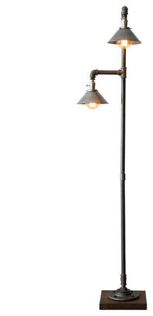 Edison Bulb Floor Lamp, Metal Shade - Industrial - Floor Lamps ...