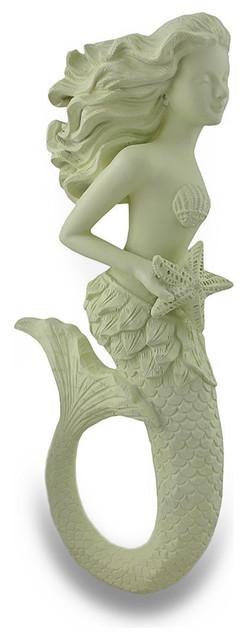 Stunning Mermaid With Starfish Wall Hanging Sculpture Museum White Finish