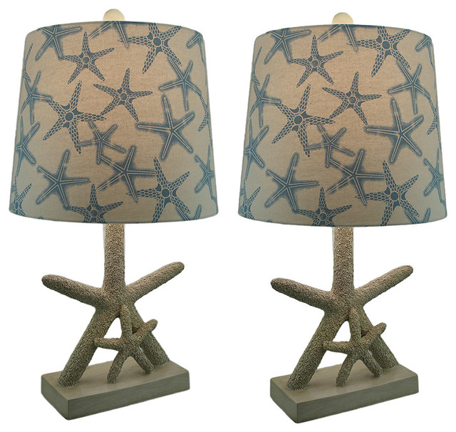 Star Of The Sea Starfish Table Lamp With Printed Fabric Shade, Set Of 2.