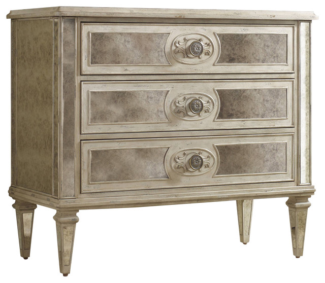Three Drawer Antique Mirrored Chest Traditional Accent Chests And Cabinets