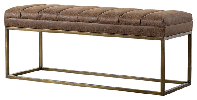Darius Pu Leather Bench. -1