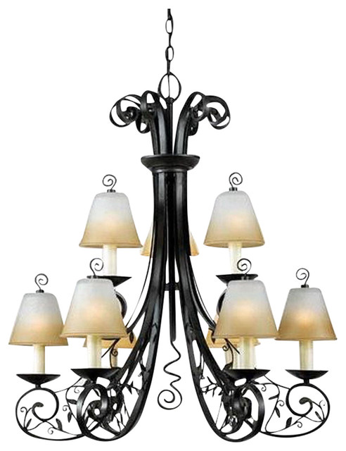 los angeles 85e8c 877a1 Imperial Bronze 9 Light 2 Tier Chandelier With Champagne Marble Glass Shades