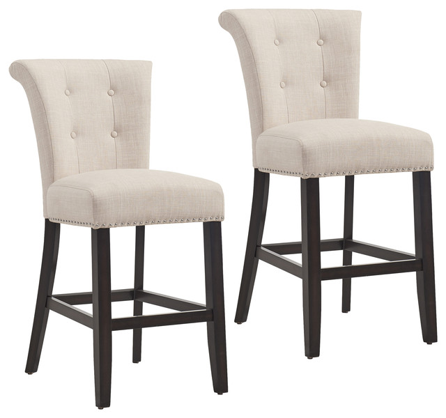 Button Tufted Fabric Counter Stool, Set of 2, Coffee Leg