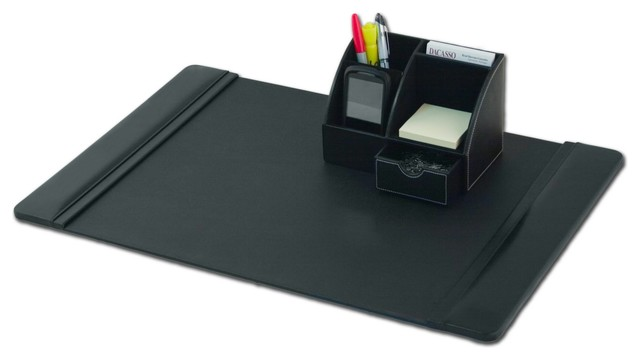 Black leather 2 piece desktop organizer desk set modern - Black leather desk organizer ...