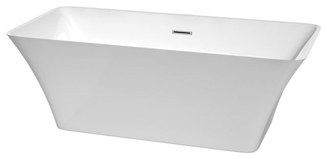 """67"""" Freestanding Bathtub, White With Polished Chrome Drain And Overflow Trim."""