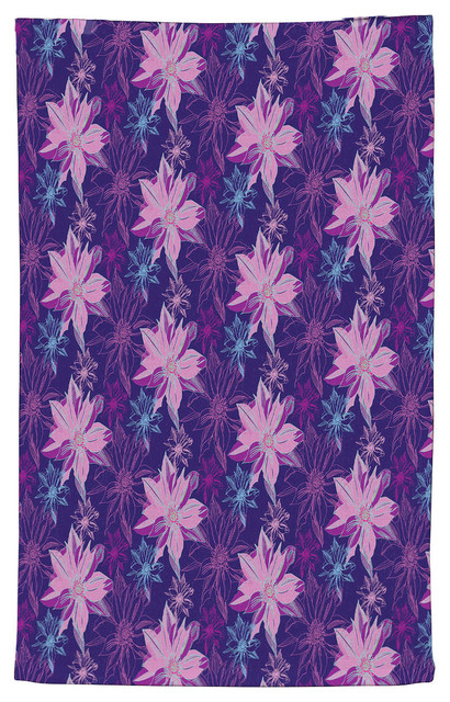 Shaded Flower Purple Pink Kitchen Towel, Terry Cloth 15\