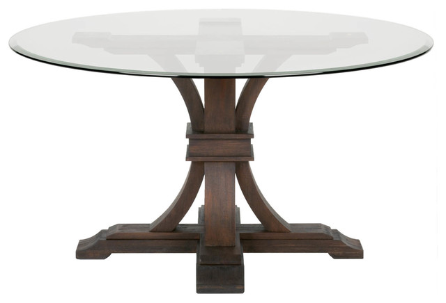 Twain Glass Round Dining Table, Rustic Java.