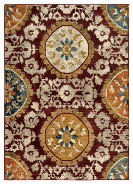 """Rufus Floral Medallion Rug, Red And Gold, 7&x27;10""""x10&x27;10""""."""