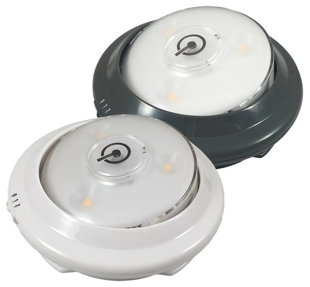 LED Swivel Accent Puck Lights With Light Sensor, Batteries Operated 2-Set