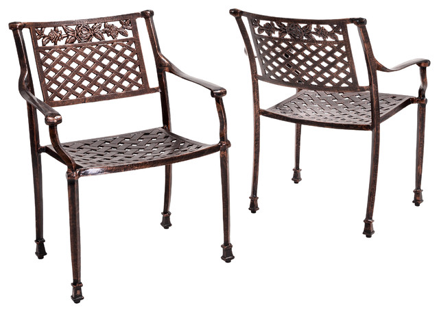 Sierra Outdoor Cast Aluminum Dining Chairs Set Of 2 Transitional