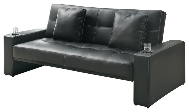 Black Leather Like Fabric Arm Sofa Bed Futon Sleeper With Two Accent Pillows Contemporary