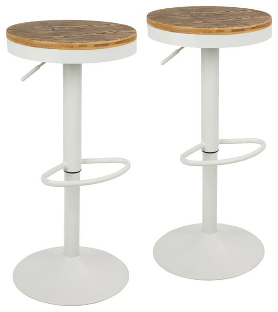 LumiSource Dakota Adjustable Barstool With Swivel in White, Set of 2