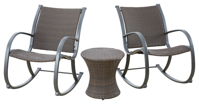 Leann Outdoor 3-Piece Dark Brown Rocking Chair Chat Set, Hourglass Accent Table.
