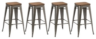 Spur Metal and Wood Bar Stools, Set of 4, 30""
