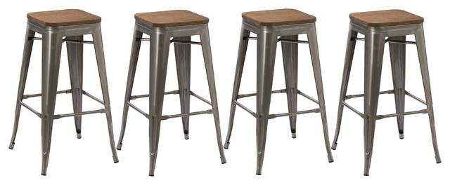 Spur Metal And Wood Bar Stools Set Of 4 30