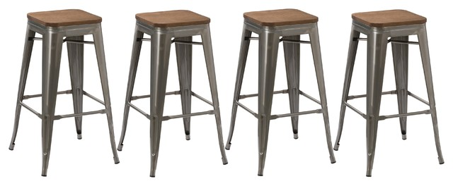"30"" Stackable Metal Brush Distressed Counter Bar Stools Wood Seat, Set Of 4."