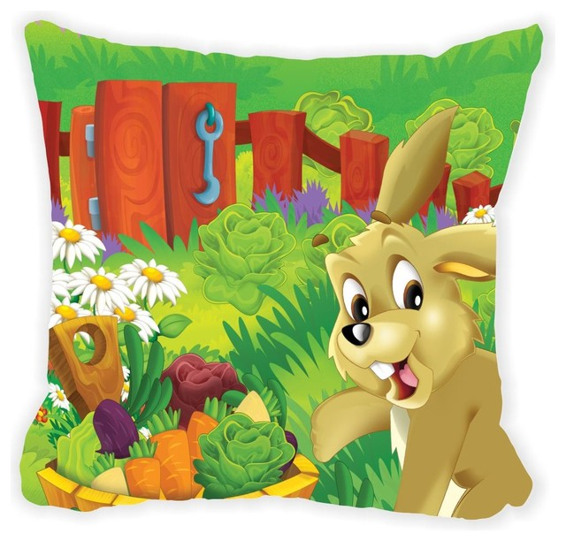 Brown Microfiber Throw Pillows : Cute Brown Rabbit Cartoon Microfiber Throw Pillow - Farmhouse - Kids Bedding - by Rikki Knight LLC