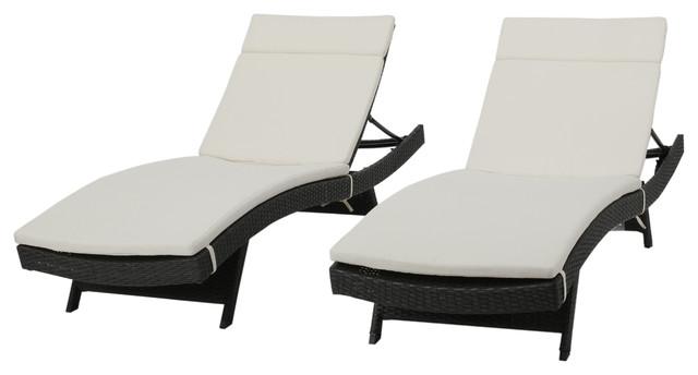 GDF Studio Nassau Outdoor Gray Wicker Chaise Lounge, Beige Cushions, Set of 2