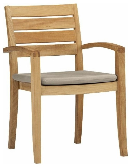 Beautiful Travota Stacking Armchair, Outdoor Teak Contemporary Outdoor Dining Chairs