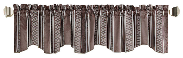 "Striped Jacquard Window Curtain Valance, Brown, 58"" X 19""."