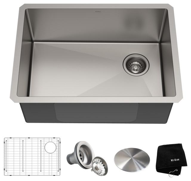 """25"""" Undermount Stainless Steel Kitchen Sink, Single Bowl 16 Gauge"""