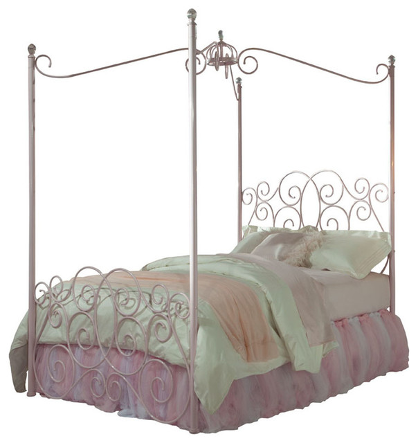 Standard Furniture Princess Canopy Bed in Pink Metal - Twin