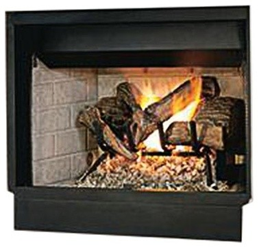 "32"" Brt B-Vent Mv Fireplace With White Stacked Refractory Hearth, Natural Gas."